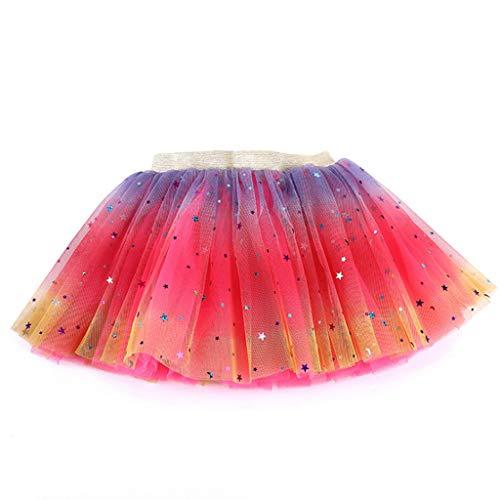 Lazzboy Kleinkind Baby Mädchen Tutu Party Ballett Kostüm Star Pailletten Gaze Regenbogen Röcke Tüllrock Rock Glitter Weichem Tüll-Rock(Pink,S)