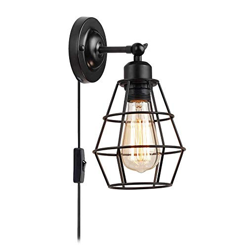 YX Lámpara de Noche Luz Pared Industrial Interior Jaula Ajustable Apliques de Pared con Cable Enchufe e Interruptor Retro Lámpara de pared Para Sala de Estar Dormitorio Mesita de Noche E27 Negro