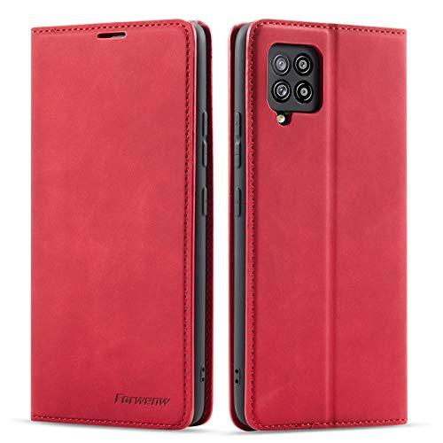 QLTYPRI Hülle für Samsung Galaxy A42 5G, Premium Dünne Ledertasche Handyhülle mit Kartenfach Ständer Flip Schutzhülle Kompatibel mit Samsung Galaxy A42 5G - Rot