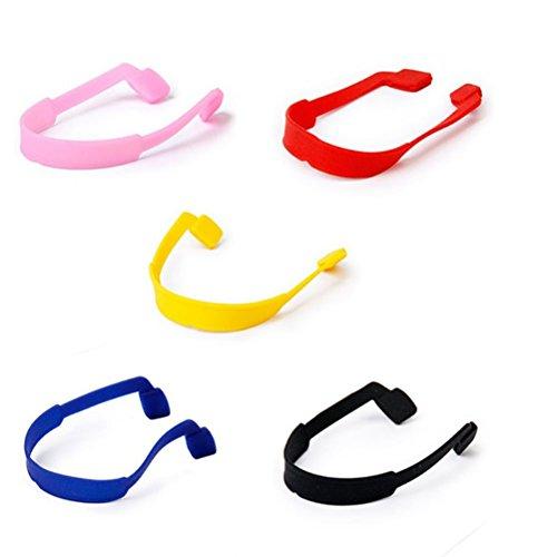NUOLUX Nuolux Brillenkette für Brillen und Sonnenbrillen mit rutschfestem, elastischem Silikon in 5 Farben