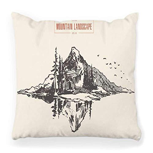 Funda de Cojine Funda de almohada decorativa, pico de montaña, bosque de pinos, grabado a mano, dibujo al aire libre, exploración, grabado en madera, aventura, Hipster, bosquejo de roca45X45CM