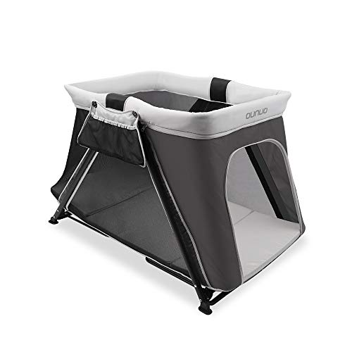 Pack and Play, OUNUO 2 in 1 Portable Playard, Sturdy Baby Playpen Travel Crib with Bassinet and Comfortable Mattress for Toddler, Baby, Push Button Fold, Easy to Pack Play-Yard
