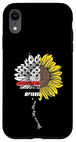 iPhone XR My Hero Sunflower Firefighter Thin Red Line Fireman Gift Case