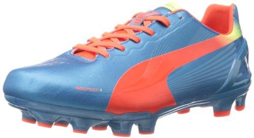 PUMA Men's Evospeed 3.2 Firm Ground Soccer Shoe,Sharks Blue/Fluorescent Orange/Fluorescent Yellow,11...