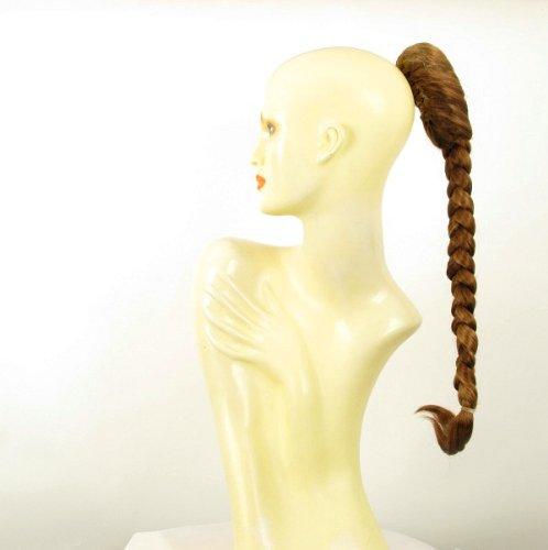 Postiche queue de cheval extension femme natte longue 50 cm blond foncé cuivré ref 4 en g27