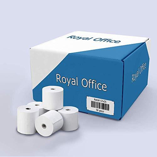 RoyalOffice Rotoli Termici 57x35 mt per Registratori di Cassa POS Bancomat Carta Termica (50 pz.)