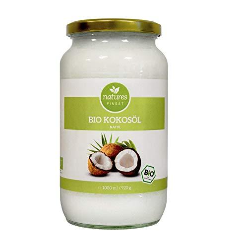 natures FINEST® Kokosöl Bio kaltgepresst vegan, Kokosfett Bio, Naturrein, 1. Kaltpressung, Rohkost Qualität - zum Kochen, Braten, Backen, 1 x Kokosöl 1000ml Schraubglas