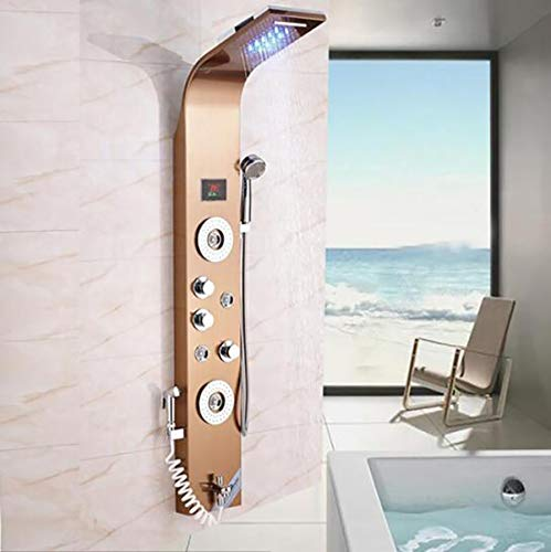 Bathroom LED Rain Waterfall Shower Panel Body Massage Jets Tower Shower Column Faucet with Hand Shower,D