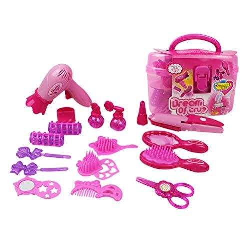 Toyvian Juguetes Kit de Maquillaje Juguete para niña Juego de imaginación Estación de peluquería Secador de Pelo Cepillo para Espejos Accesorios