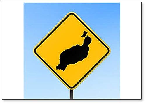 Lanzarote Map On Road Sign - Koelkast Magneet