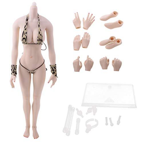ZSMD 1/6 Scale vrouwelijke figuur naadloze grote borsten lichaam actie figuur in bikini - algemene kleur, C C|Weiße Haut C|witte huid.