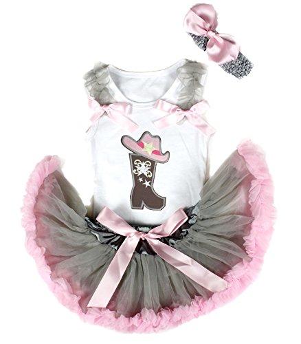 Petitebelle Cowgirl Hoed Boot Wit Shirt Grijs Roze Baby Rok Meisje Outfit 3-12m