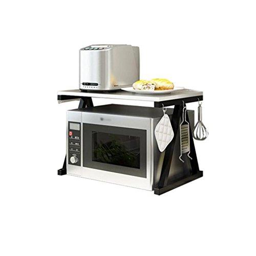 LIN-rlp Microwave Oven Rack Kitchen Oven Shelf Standing Countertop Storage Holder 2 Tier Kitchen Supplies(size:57x37x37.7cm)