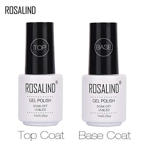 ROSALIND Esmalte semipermanente de uñas de gel de color puro para sellar, esmalte de gel de capa top y base, 7 ml