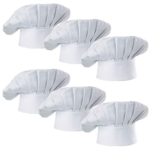 Hyzrz Chef Hat Set of 6 PCS Pack Adult Adjustable Elastic Baker Kitchen Cooking Chef Cap, White