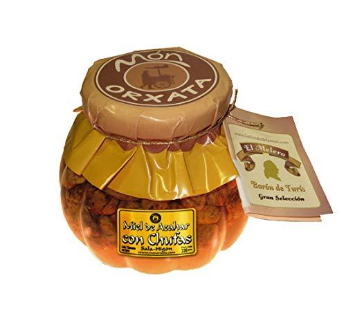 Miel de azahar con chufas. Elaborada para Món Orxata por nuestro buen amigo el maestro apicultor de Turis. 330 g. Tarro de cristal.