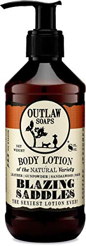 Blazing Saddles Natural Lotion - The Sexiest Lotion in the West - Western Inspired, Smells like Leather, Gunpowder, Sandalwood, and Sagebrush - Men's and Women's Lotion