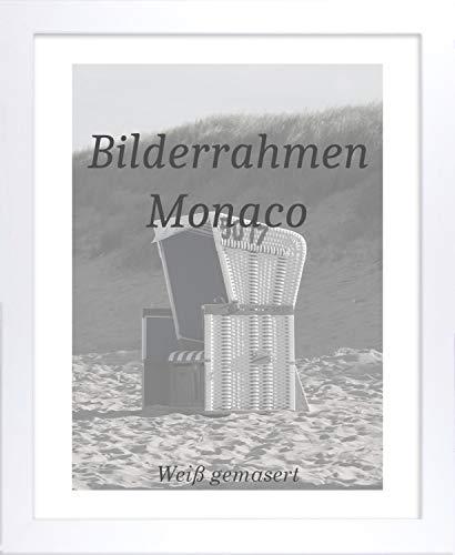 Monaco MDF Bilderrahmen ohne Rundungen 32 x 24 cm Größe wählbar 24 x 32 cm Weiß gemasert mit Acrylglas klar 1 mm