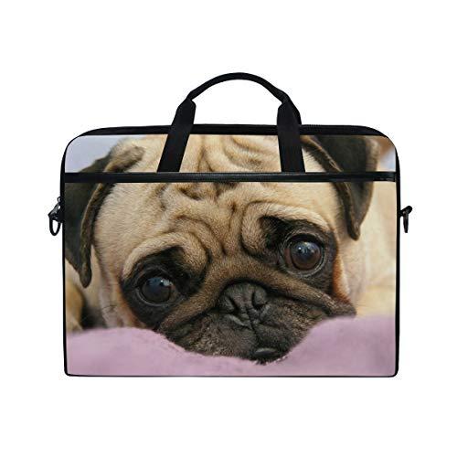 EZIOLY Pug Dog Puppy Snout Eyes Laptop Shoulder Messenger Bag Case Sleeve for 13 Inch to 14 inch Laptop