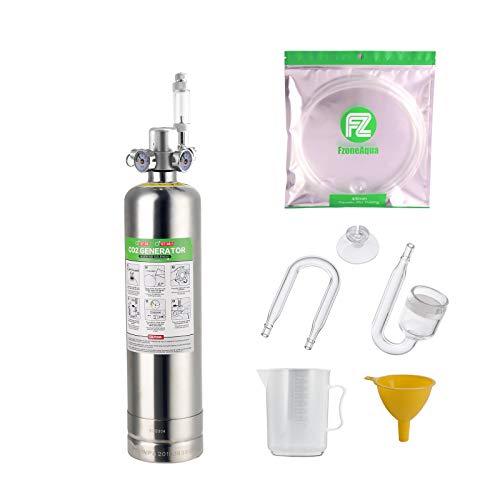 FZONE Sistema para producir CO2 para acuarios 2.5L Kit de Reactor de dióxido de Carbono con regulador y válvula de Aguja para Tanques plantados
