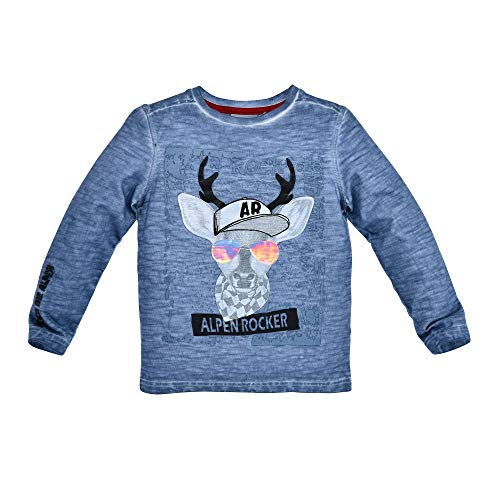 BONDI Trachten Langarm Shirt Alpenrocker mit Hirschmotiv 29922 - Blau Gr. 122