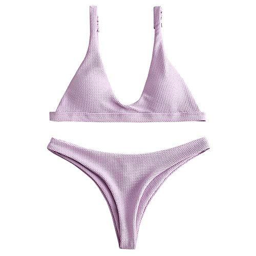 ZAFUL Women Padded Scoop Neck 2 Pieces Push Up Swimsuit Revealing Thong Bikinis V Bottom Style Brazilian Bottom Bra Sets (L, Lilac)