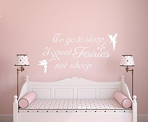 Autocollant mural en vinyle pour chambre d'enfant Inscription To Go To Sleep I Count Fairies Not Sheep 38 x 70 cm