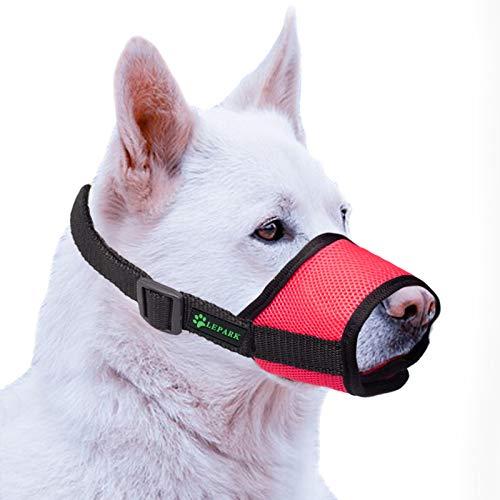 ILEPARK Bozal para Perros Cubierto con Malla Transpirable y Nailon Duradero, Bozal para Perro Ajustable y Suave para Evitar Que Muerda, Mastique y Ladre (S,Rojo)