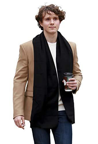 FULLRON Men Cashmere Scarf Long Warm Black Scarves for Winter