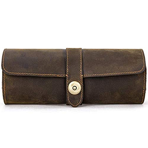 HJBH Portable Watch Roll Case, Watch Roll Travel Case,Watch Case Travel Organizer, Genuine Leather Watch Case, Watch Display Box, for Watches, Bracelets, Jewelry Storage, Gift for Men Women.
