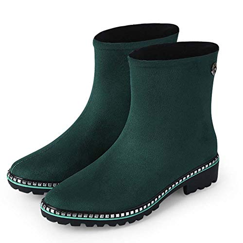 Botas de Lluvia a Media Pierna para Mujer, Zapatos de Jardín Impermeables, Bordes de Zapatos de Metal, Bota de Lluvia de Goma Antideslizante,Verde,38