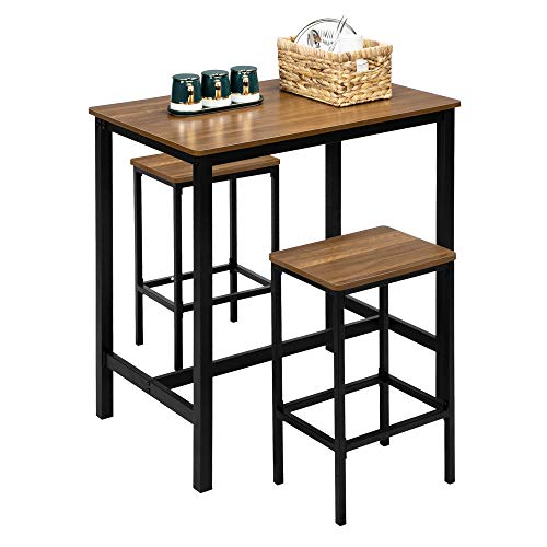 VINGLI 3 pcs Pub Table Set Counter Height Dining Table Set for 2,Kitchen Bar Table with 2 Bar Stools,Breakfast Pub Table and Chairs Set