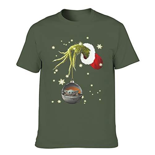 Herren Grin-ch-Yoda- das Baby Weihnachten Baumwolle T-Shirt - Lässig Top Tragen Army Green m