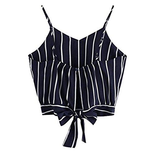 T-Shirt Damen Sommer Bauchfrei Trägerlos V-Ausschnitt Stickerei Crop Tops Oberteile Bluse (S, Blau 2)