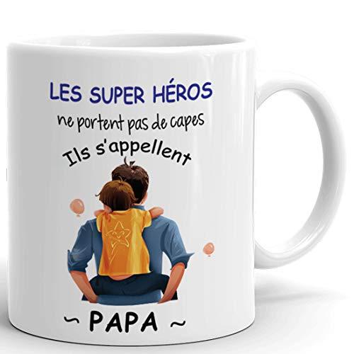 Tasse-Mug Papa Héro - Idée Cadeau Naissance Papa Original Fête des Pères Anniversaire Boite à Papa Humour