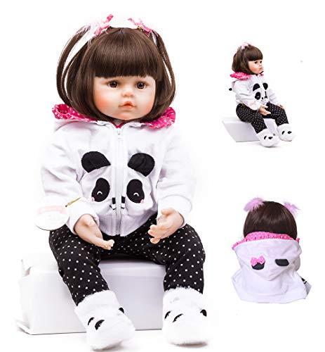 HRYEOY Reborn Muñecas bebé 18 Pulgadas 47 cm Vinilo de Silicona Suave Realista Recién Panda Coat Negro Zapatos de Pantalones Nacido para niños Mayores de 3 años Juguete