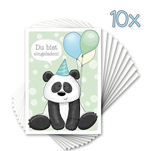 """10 Einladungen zum Kindergeburtstag \""""PAUL PANDA\"""" / für Zoo Partys, Tierpark"""