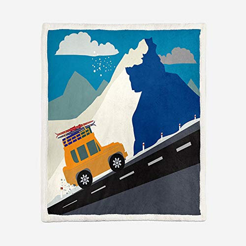 JNBGYAPS Printing Throw Blanket Car on mountain road Flannel Fleece Throw Blankets,Sofa Blanket,Bed Blanket,Super Soft Warm Fluffy Plush Microfiber Blanket59.1x78.7 Inches