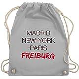 Shirtracer Städte - Weltstadt Freiburg - Unisize - Hellgrau - kalligrafie - WM110 - Turnbeutel und Stoffbeutel aus Baumwolle