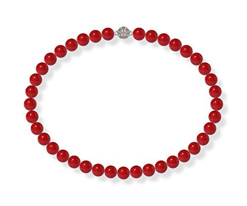 Schmuckwilly Collana di perle shell - Collana di perle shell rosso con chiusura a magnet 42cm dmk1005-42 (10mm)