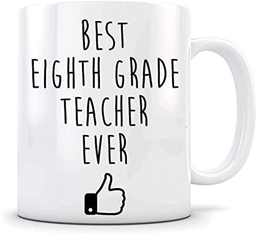 Divertida taza de café para el maestro de octavo grado, regalo para el maestro de octavo grado, nuevo maestro, primer día de clases, agradecimiento al maestro de la escuela, el mejor maestro de octavo