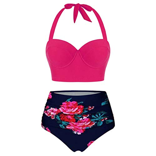 Sonnena Mujer Crop Tops de Cintura Alta con Estampado Floral+Shorts Lencería Traje de Baño de Dos Piezas Halter Tankini
