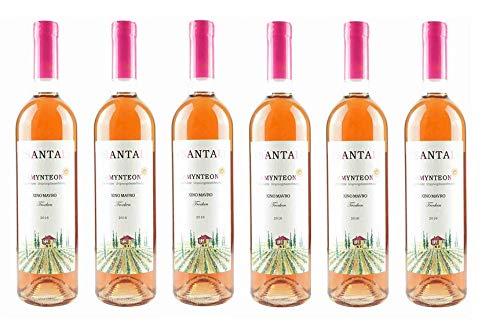 6x Tsantali Rose Amynteon trocken 6 Flaschen a 750ml Spar Set 12,5% Vol griechischer Rosewein zur mediterranen Küche Aperitif + 2x 10ml Olivenöl Test Sachet von Kreta