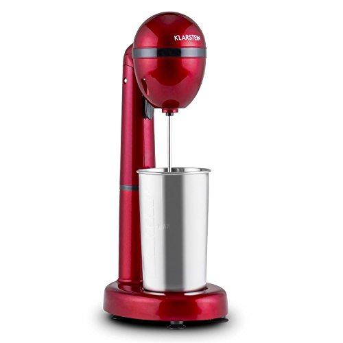 Klarstein van Damme - Drink-Mixer, Getränkemixer, Mini-Standmixer, Milkshake Maker, 100 Watt, 22.000 Umdrehungen pro Minute, 450 ml Fassungsvermögen, Edelstahl-Mixbecher, rot