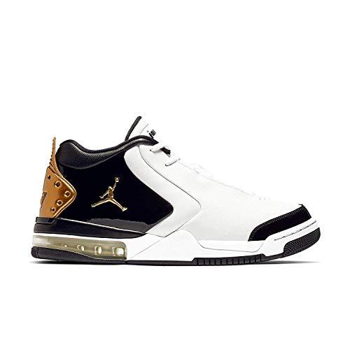 Jordan Air Big Fund Premium White Metallic Gold Black Men's, Black, Size 10.5
