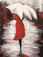 DIYデジタル絵画白い傘の下の人Diyデジタル油絵壁画家の装飾アクリル画(フレームなし)40X50