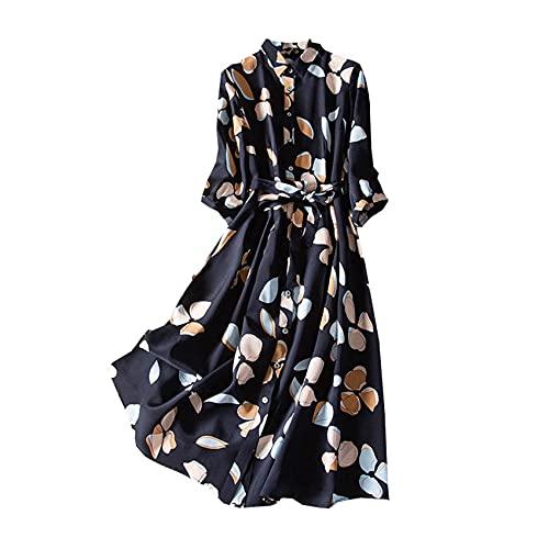 Vestido Estampado De Gasa Vestido Camisero De Manga Tres Cuartos con Cintura Retro para Mujer Vestido Bohemio Suelto De Una Pieza