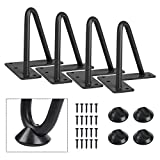 SMARTSTANDARD 4 Inch Heavy Duty Hairpin Furniture Legs, Metal Home DIY Projects for TV Stand, Sofa, Cabinet, etc with Rubber Floor Protectors Black 4PCS