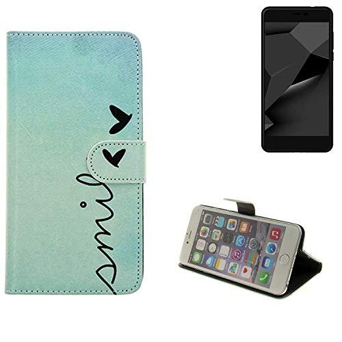 K-S-Trade® Schutzhülle Für Blaupunkt SL Plus 02 Hülle Wallet Case Flip Cover Tasche Bookstyle Etui Handyhülle ''Smile'' Türkis Standfunktion Kameraschutz (1Stk)