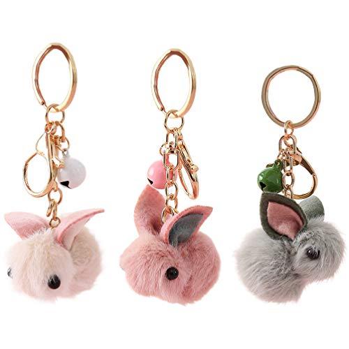 Amosfun 3 Stück Schöne Kaninchen Schlüsselbund Cartoon Kunstpelz Hase Tasche Anhänger Plüsch Kaninchen Schlüsselring Schlüsselhalter Auto Hängen Ornament für Ostern Kinder Mädchen